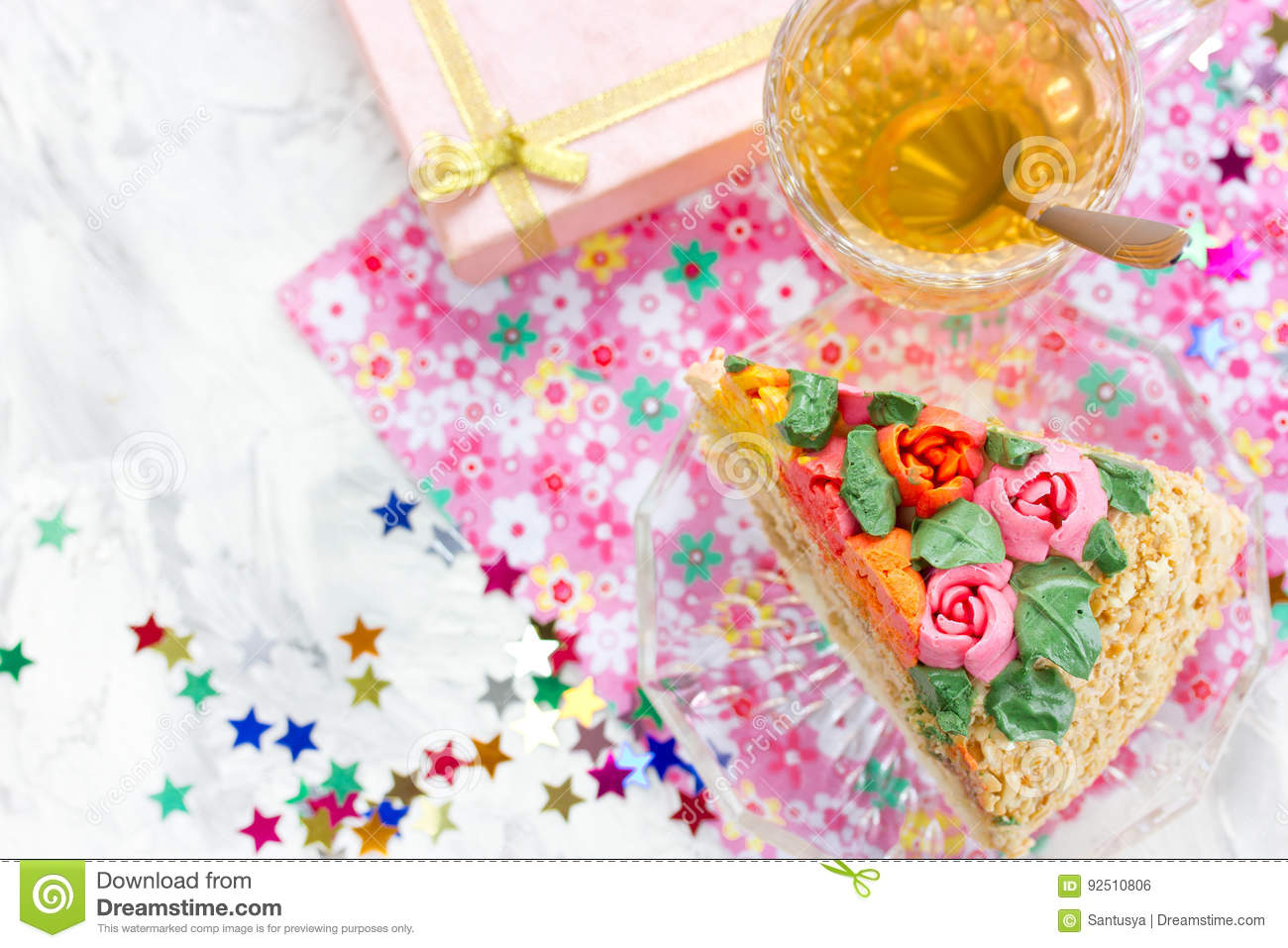 Piece Of Birthday Cake Tea In Cup Gift Box And Colorful Confetti