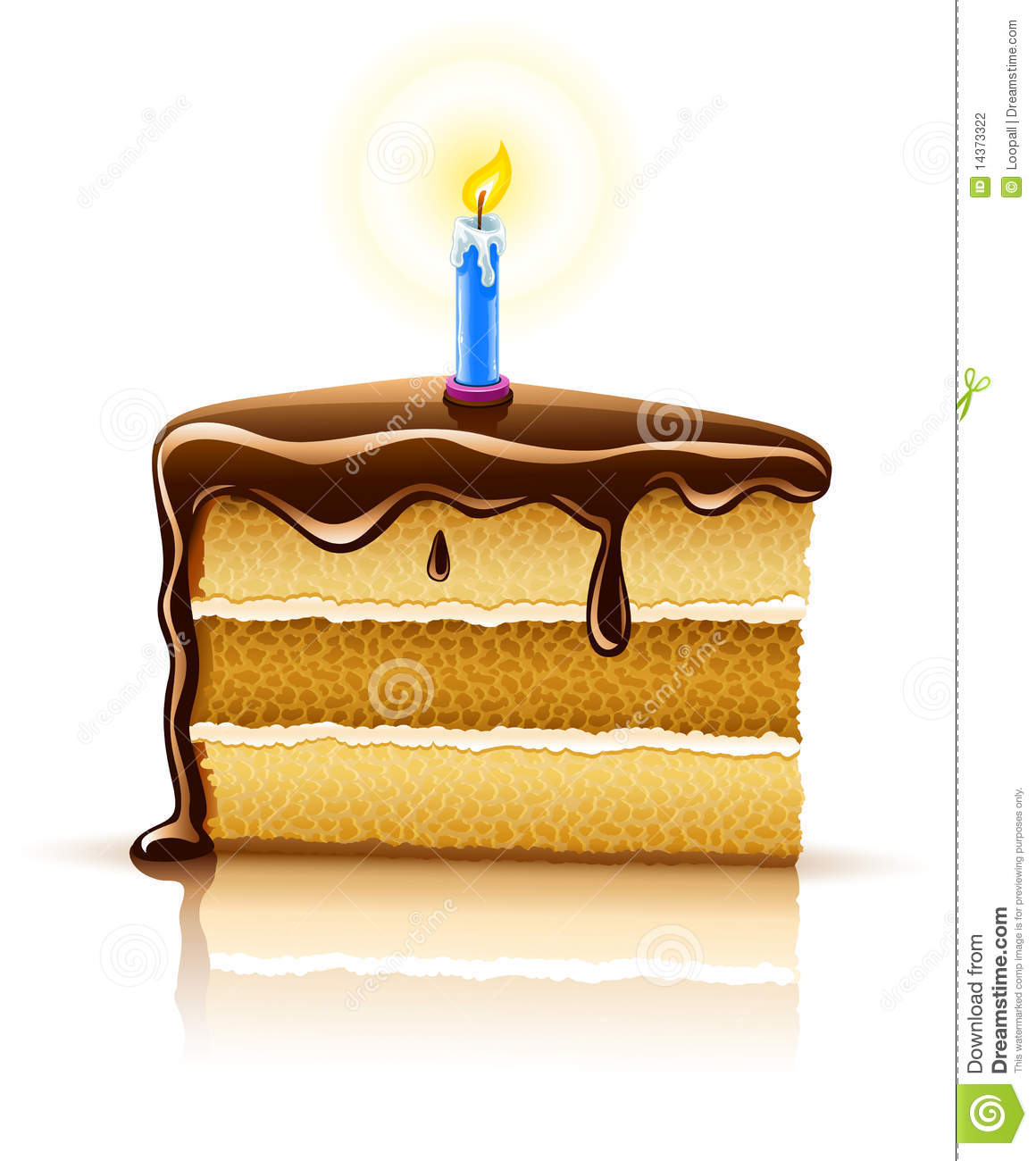 Piece Of Birthday Chocolate Cake With Candle Stock