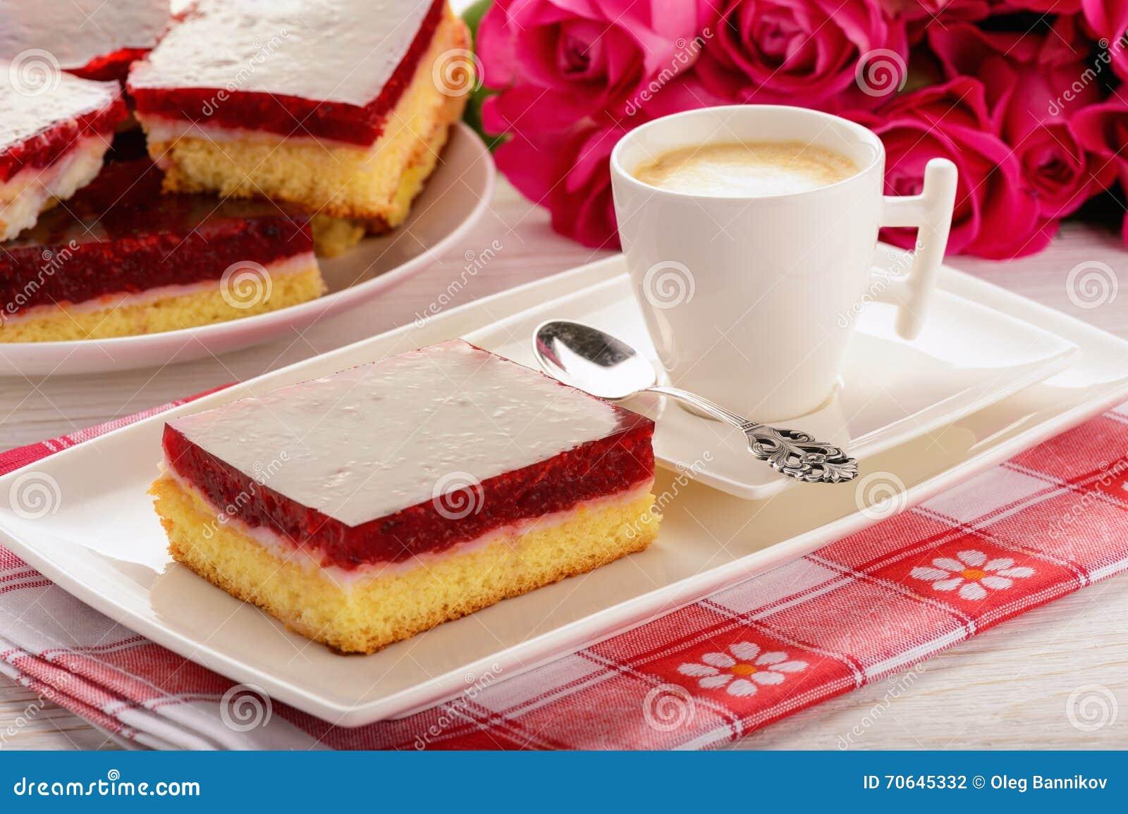 Cartoon Jelly Cake Recipe: Cake With Cherry Jelly And Coffee Royalty-Free Stock Photo