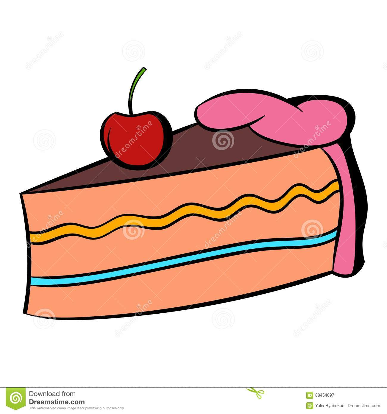 Piece Of Cake Icon Cartoon Stock Vector Illustration Of Brown