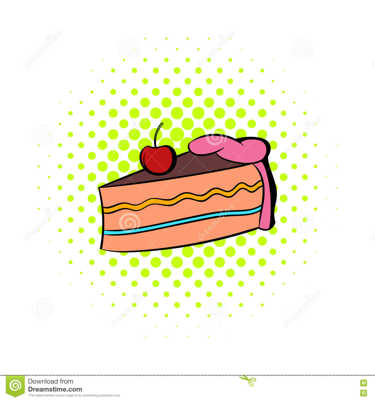Piece Of Cake Icon Comics Style Stock Vector Illustration Of Icon