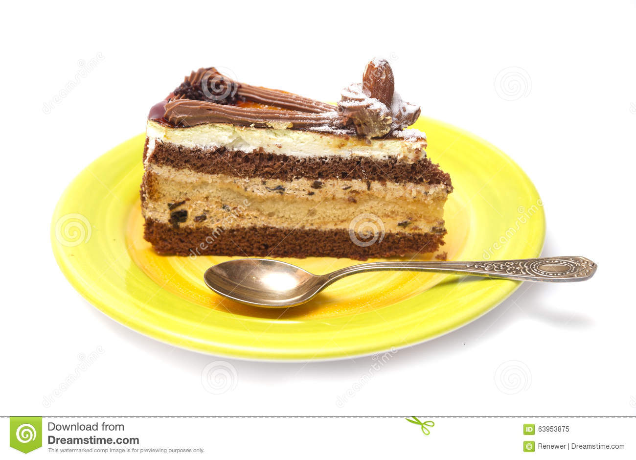 Piece Of Biscuit Cake On Plate Stock Photography ...