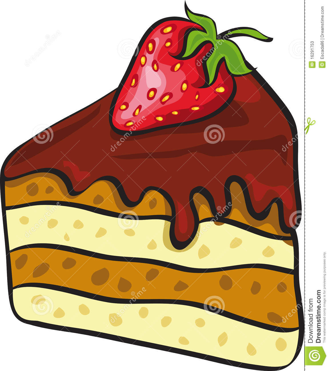 Piece of chocolate cake stock vector. Illustration of ...