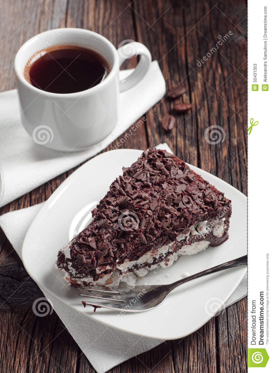 Piece Of Chocolate Cake And Coffee Cup Stock Image Image