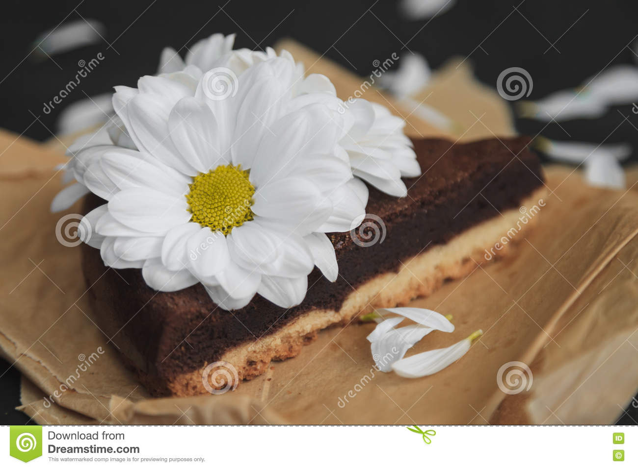 Piece of chocolate cake with flowers on craft paper stock photo piece of chocolate cake with flowers on craft paper izmirmasajfo