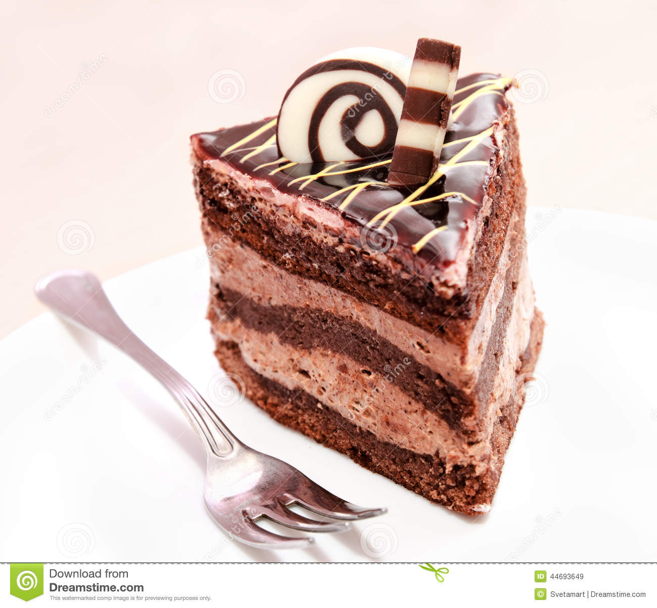 piece of chocolate cake and fork stock image image 44693649