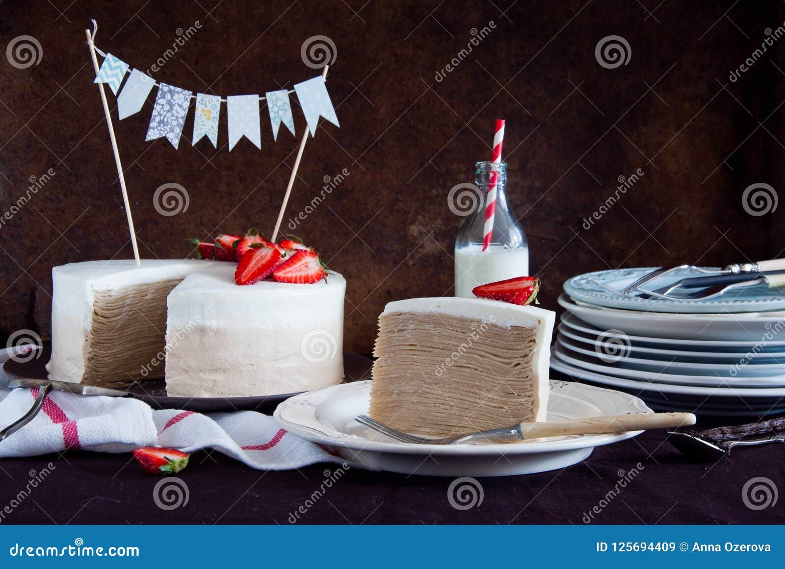 Crepe Cake Napoleon With Strawberries Stock Image Image Of Cream