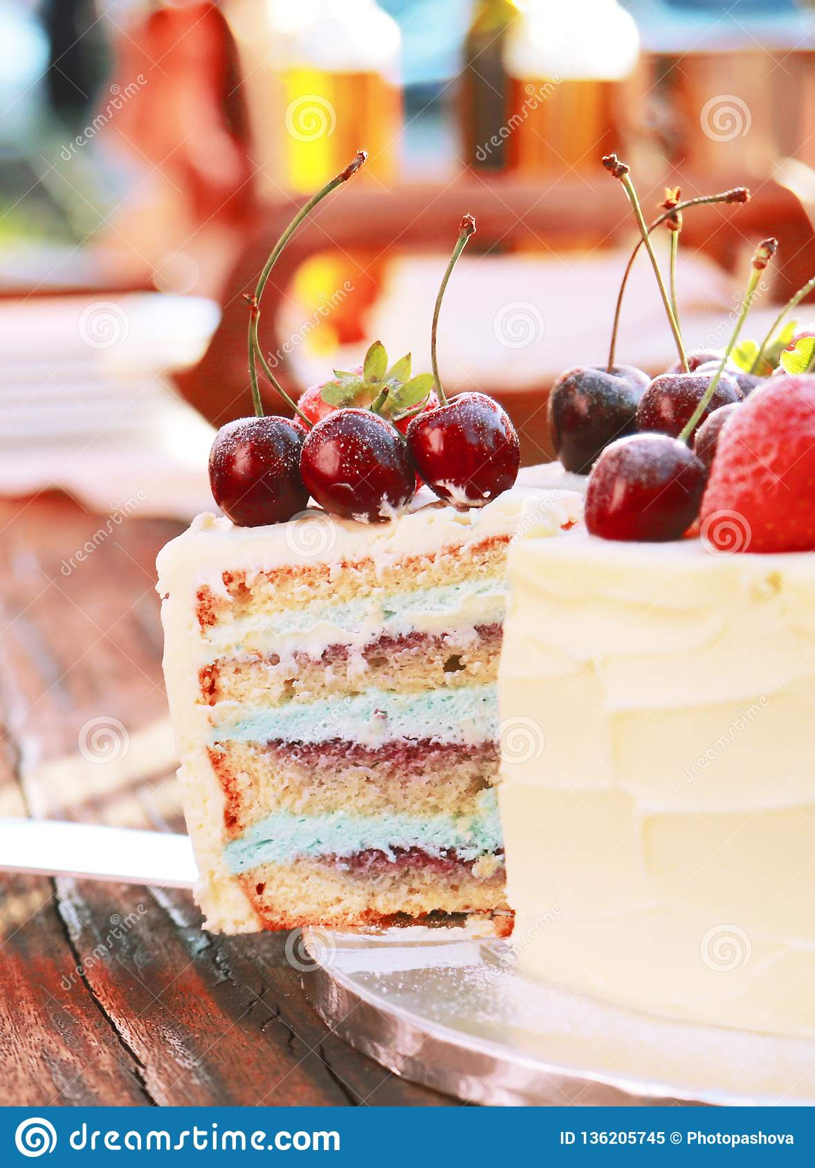 Piece of frash homemade cake with fresh berries and fruits