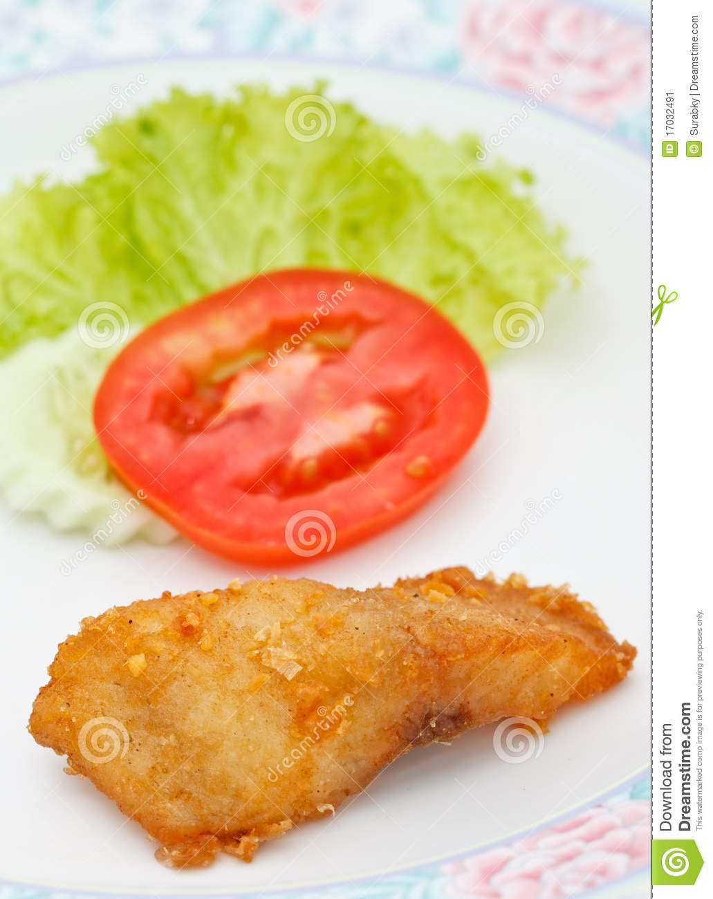 Piece of fried fish and vegetables stock image image for Piece of fish