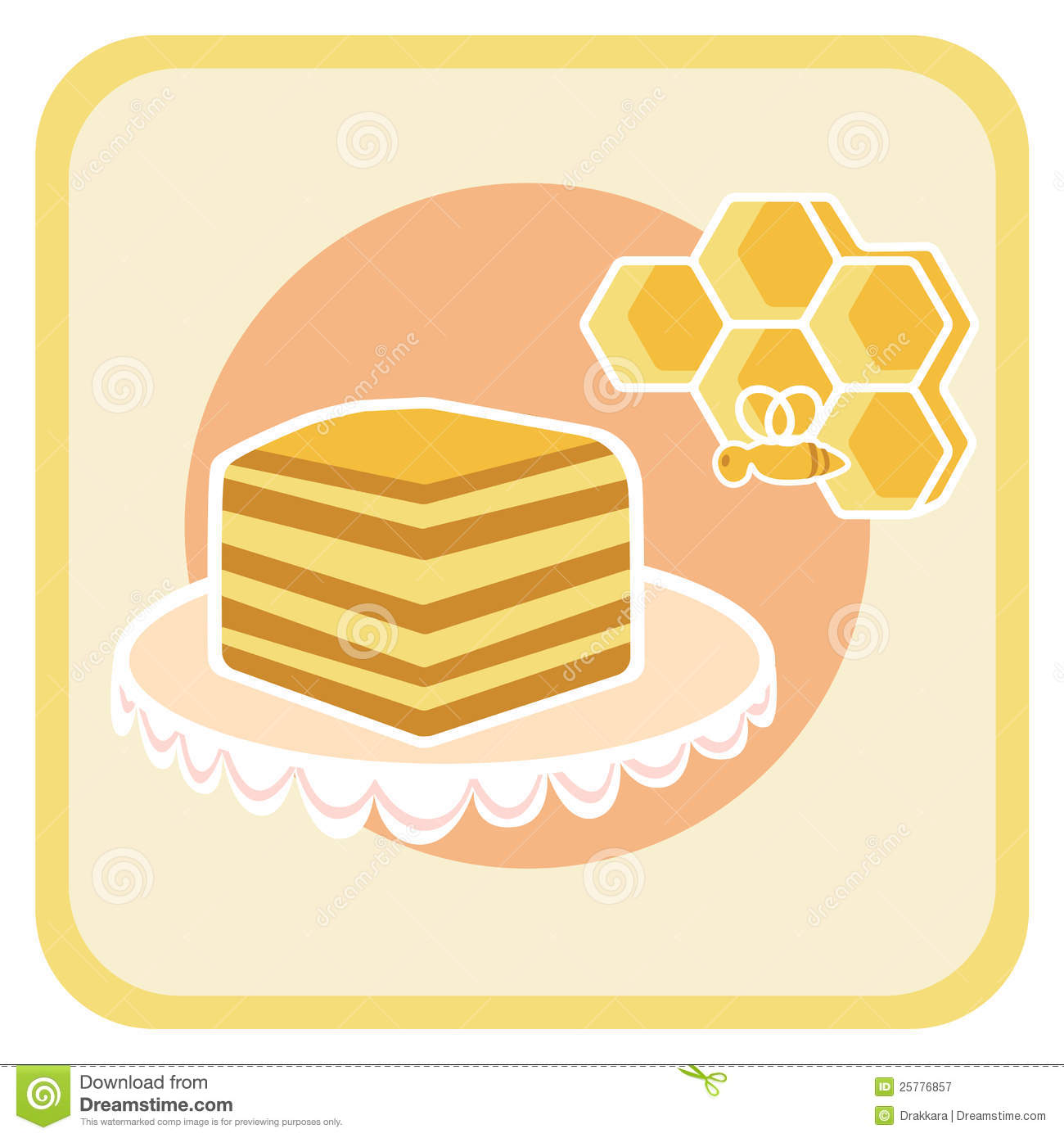 Clipart Of Honey Cake : Piece Of Honey Cake And Bee On Honeycomb Royalty Free ...