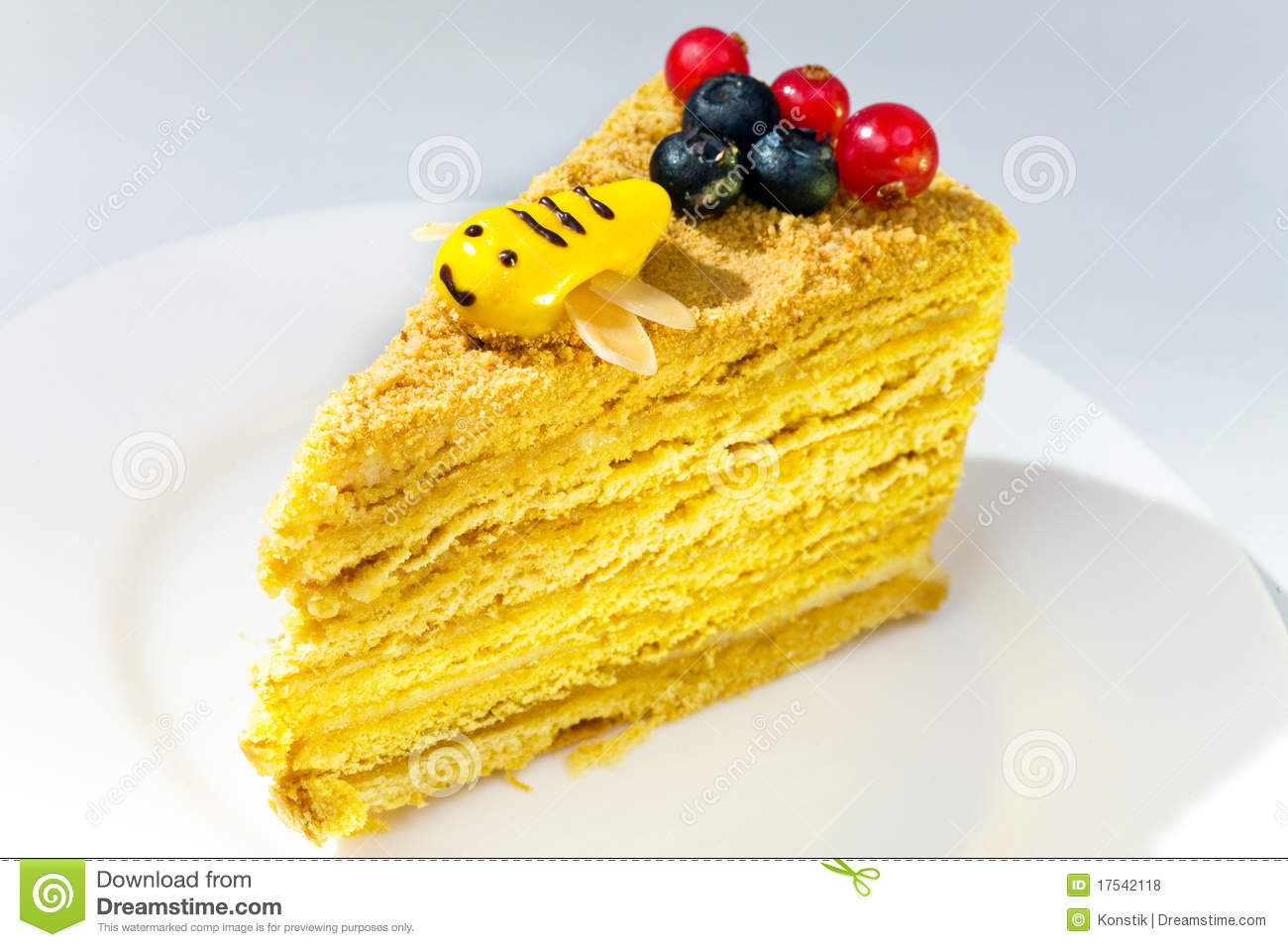 Clipart Of Honey Cake : Piece Of The Honey Cake Decorated With A Bee From Royalty ...