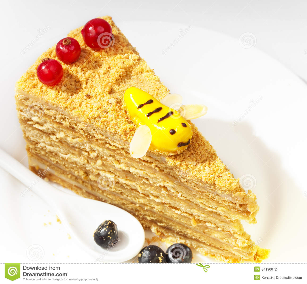 Clipart Of Honey Cake : Piece Of The Honey Cake Stock Photography - Image: 34190072