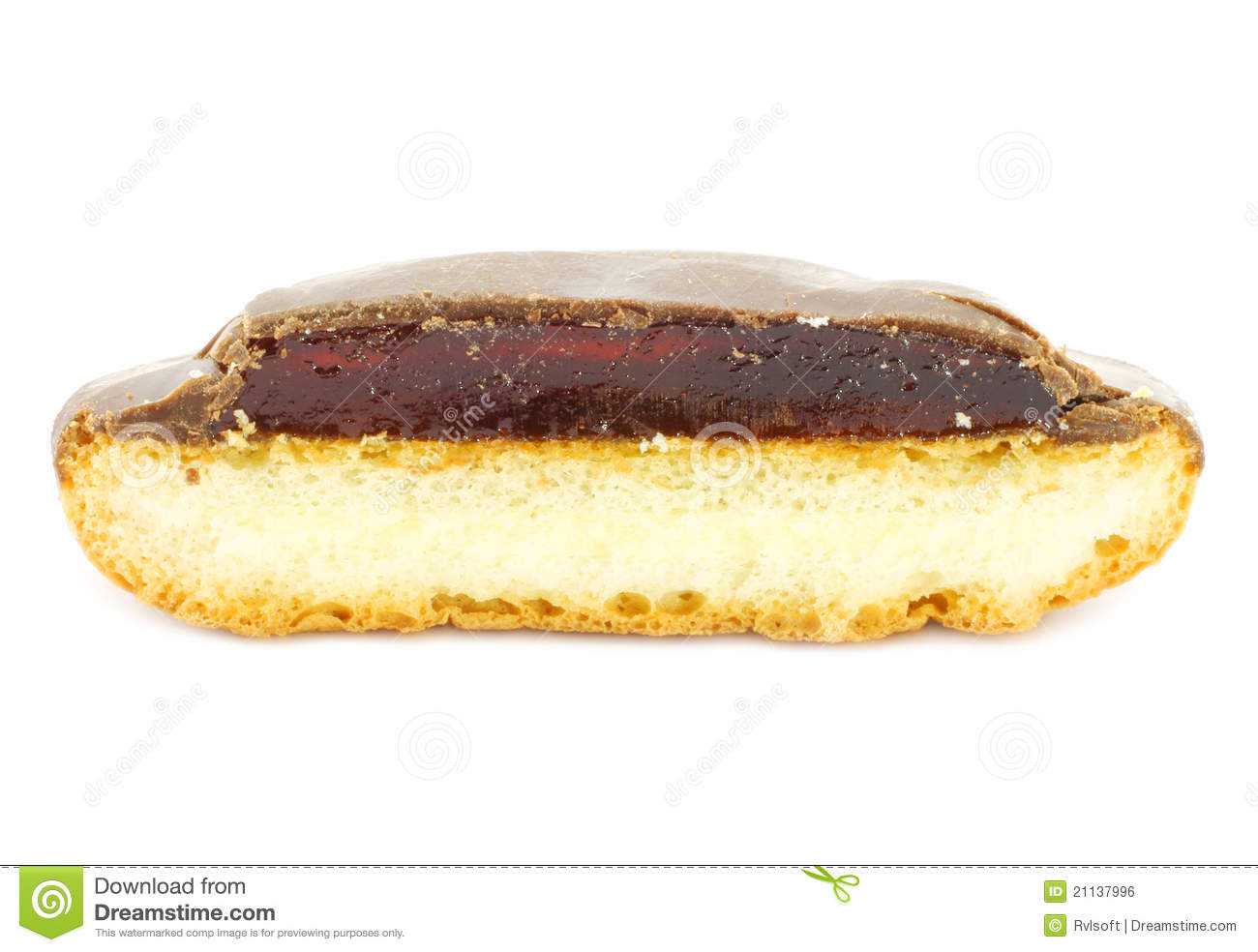 Piece Of Jelly Cookie With Chocolate Glaze Royalty Free Stock Image ...