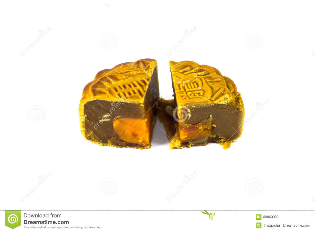 Piece of moon cake isolated