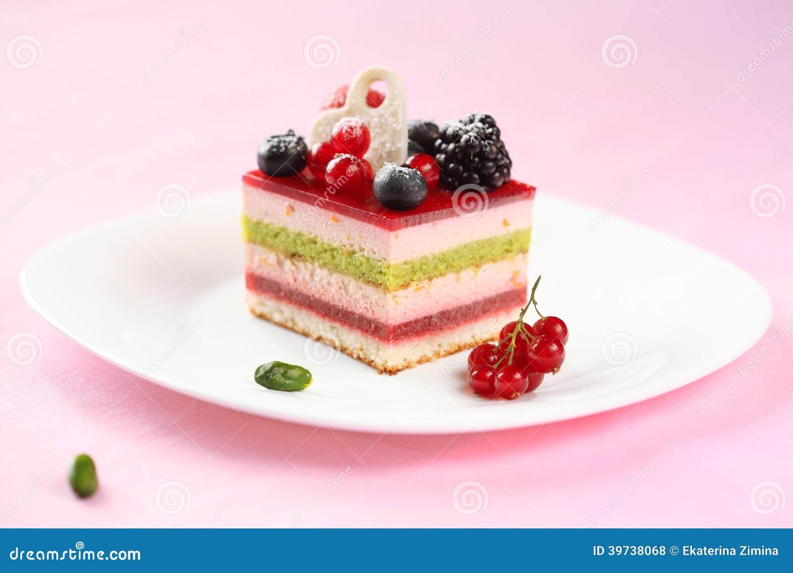 Strawberry And Blueberry Cake On White Background