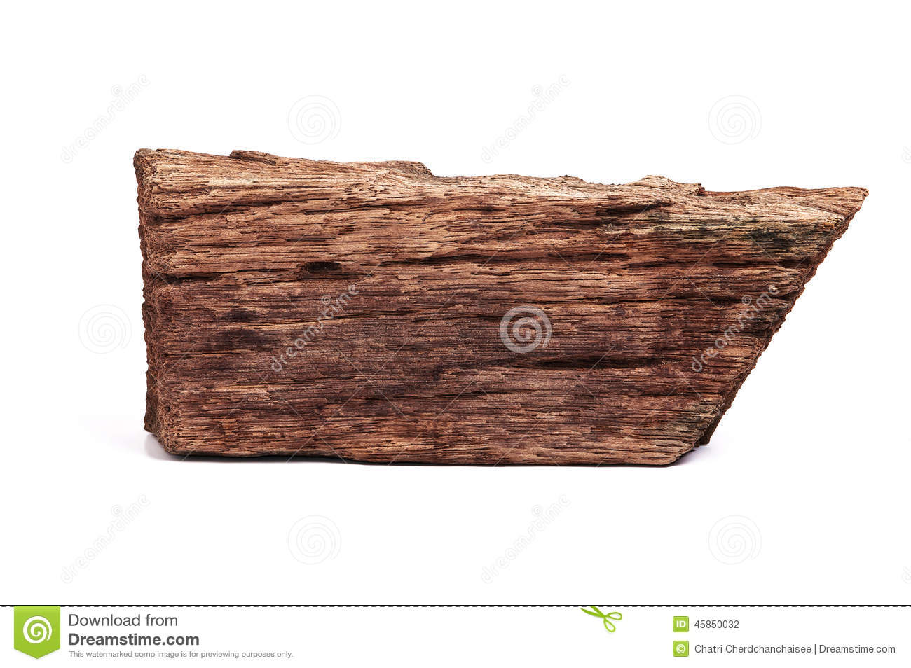 Piece of old wood isolated on white stock photo image
