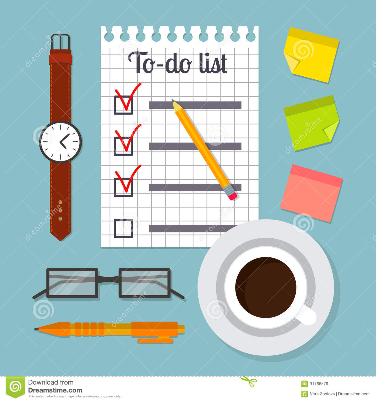 Watch Post It Notes Piece Of Paper With To Do List Template Stock Vector Image