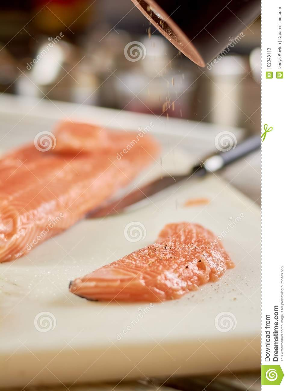 Piece Of Raw Salmon Sprinkling With Spices Stock Image Image Of
