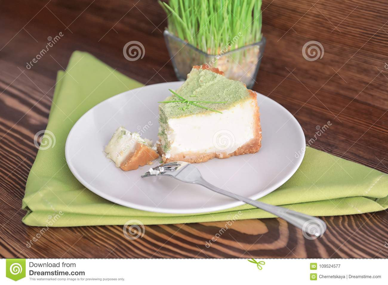 Piece of tasty cake on plate.