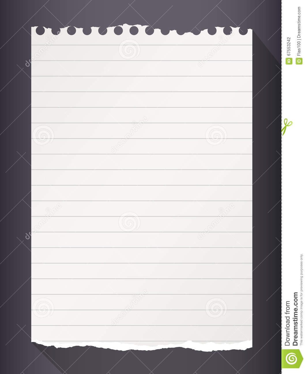 piece of torn white lined notebook paper on black background stock