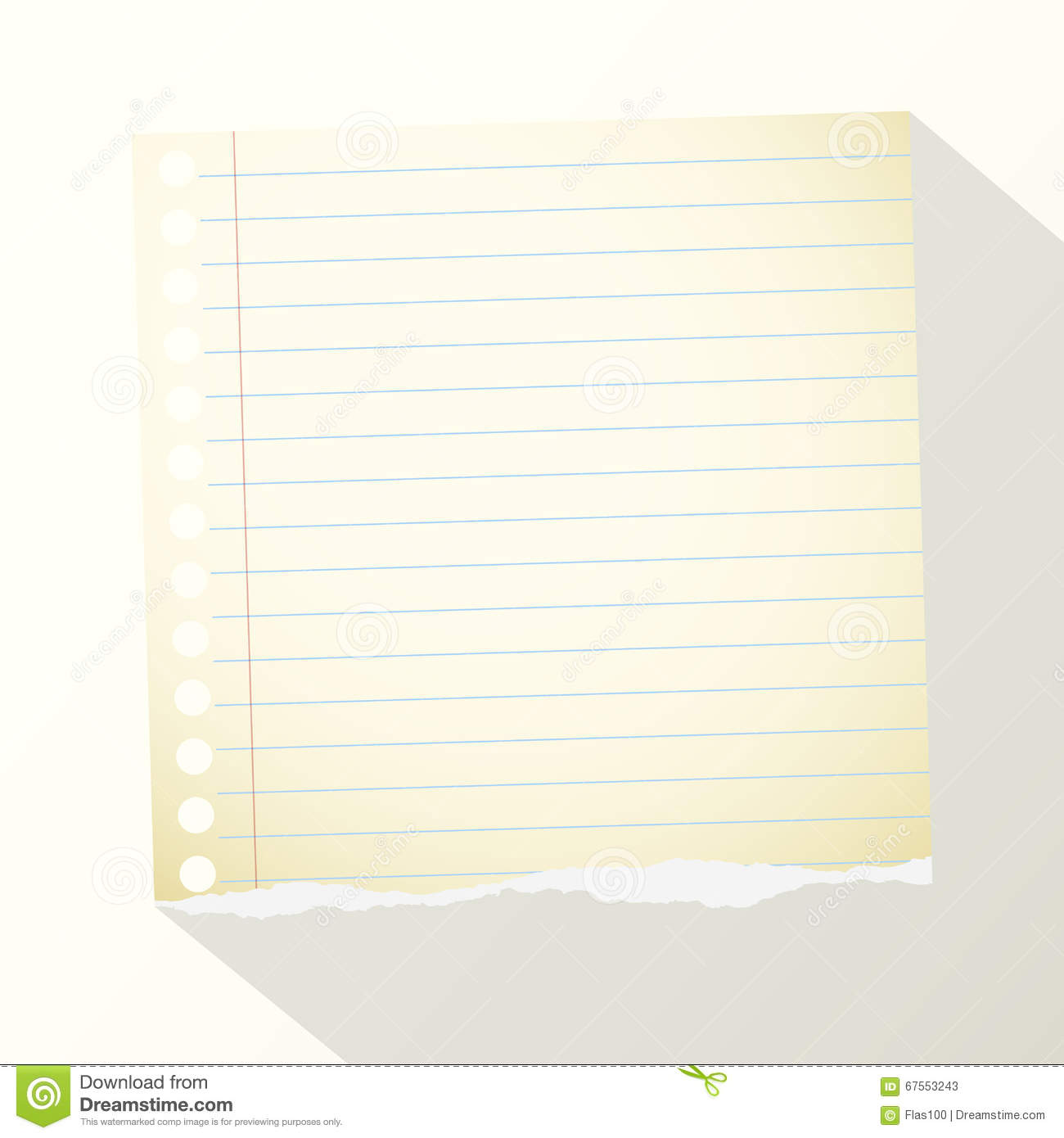 piece of torn yellow lined notebook paper on light background stock