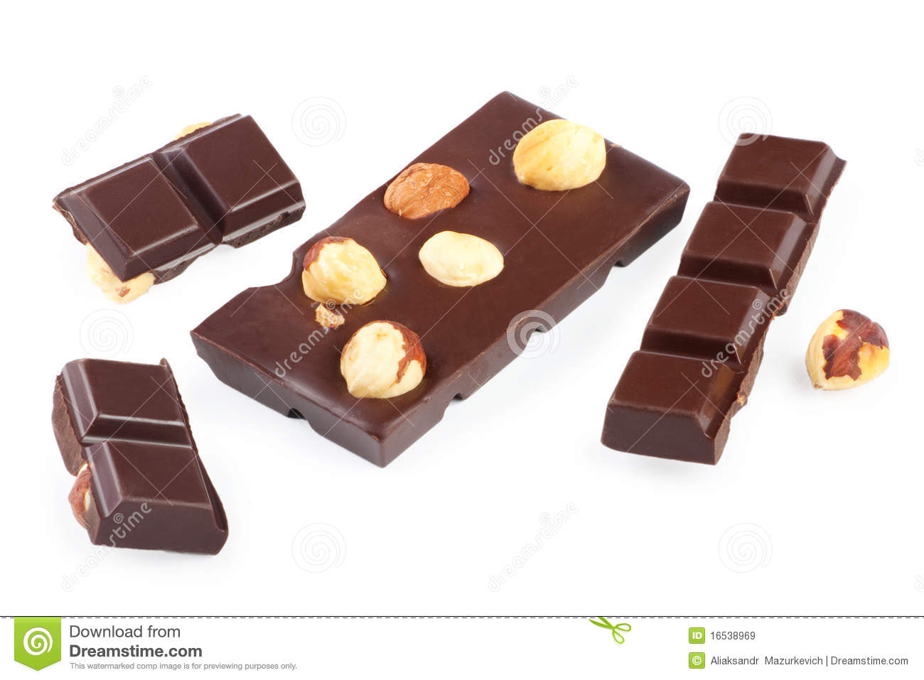 pieces of chocolate bar with nuts stock image image. Black Bedroom Furniture Sets. Home Design Ideas