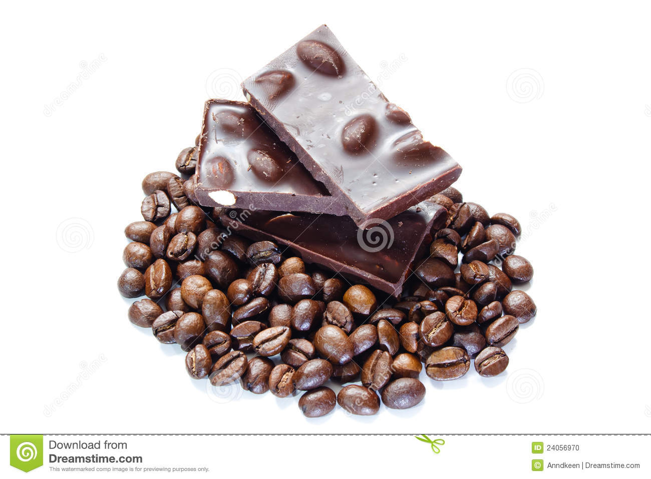 Pieces Of Chocolate With Nuts And Coffee Beans Stock Photo - Image ...