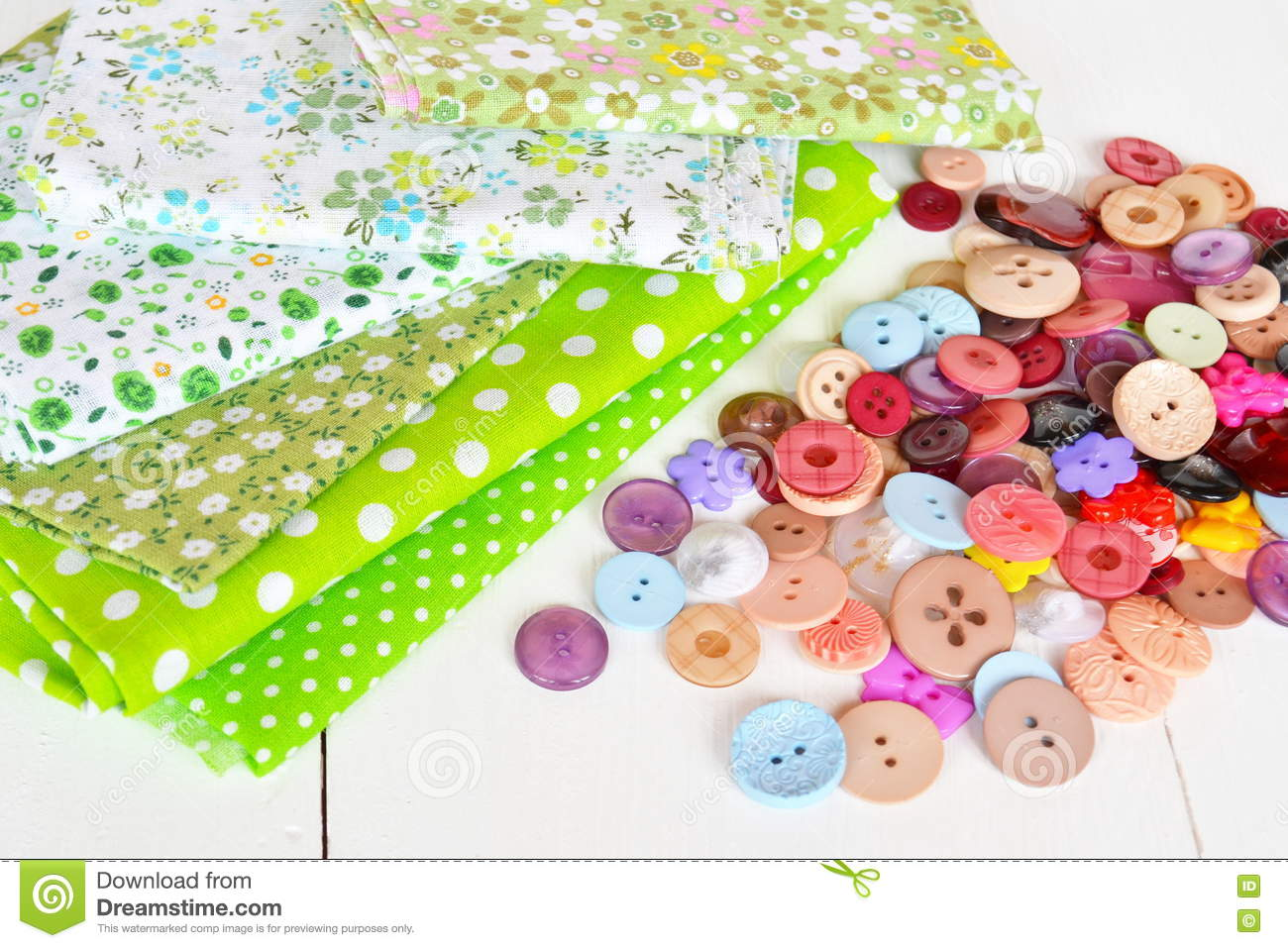 Pieces Of Cloth, Buttons - A Sewing Kit Stock Image - Image