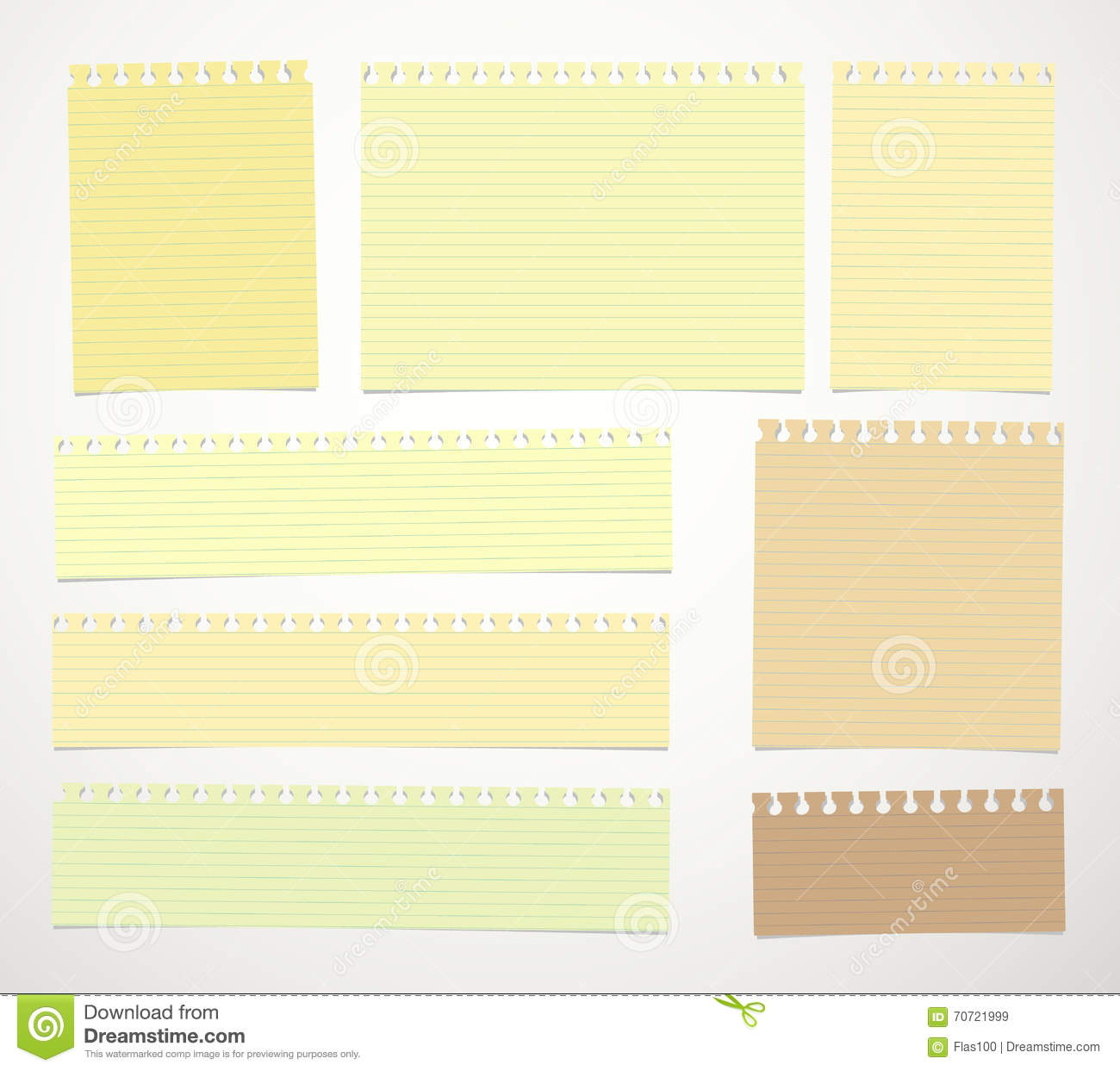 pieces of cut yellow, brown lined notebook paper sheets are stuck on