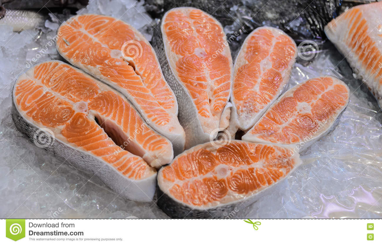 Pieces of fish on display on ice stock photo image for Piece of fish