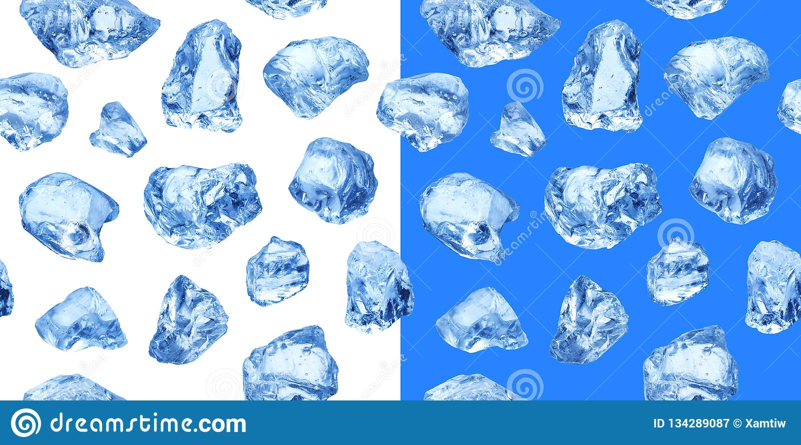 Pieces of natural ice, seamless pattern