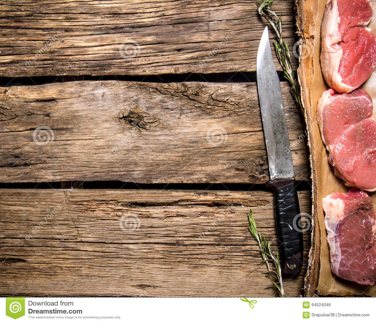 pieces of raw meat with a butcher knife stock photo image 64524046. Black Bedroom Furniture Sets. Home Design Ideas