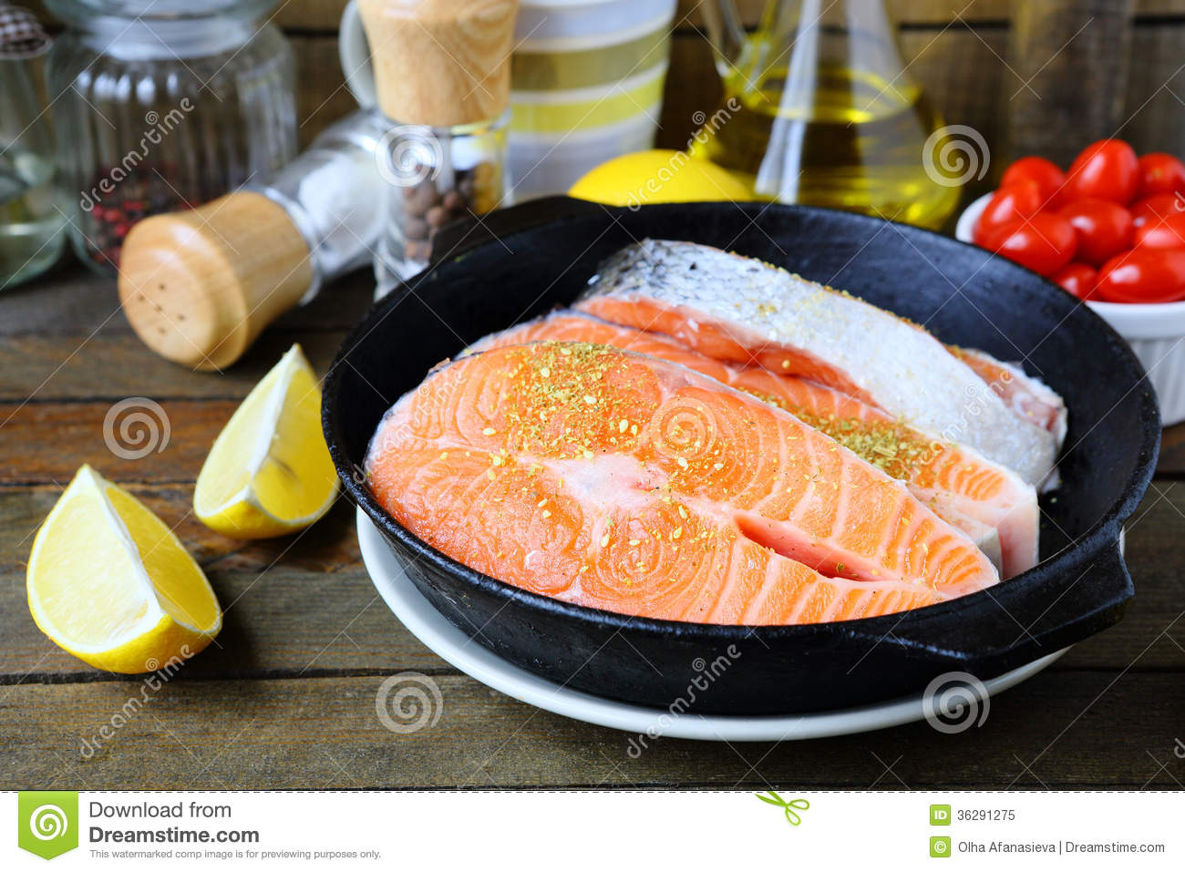 Pieces of red fish in the pan salmon royalty free stock for Piece of fish