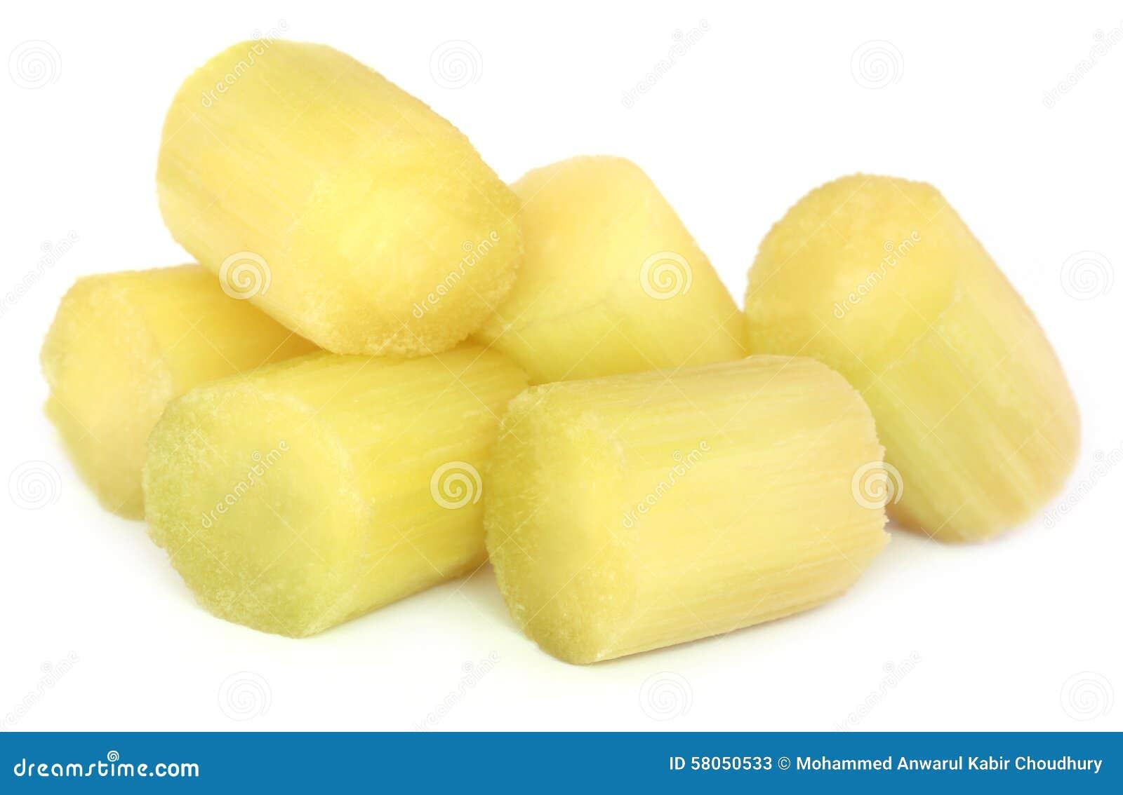 Pieces Of Sugarcane Stock Image. Image Of Peeled