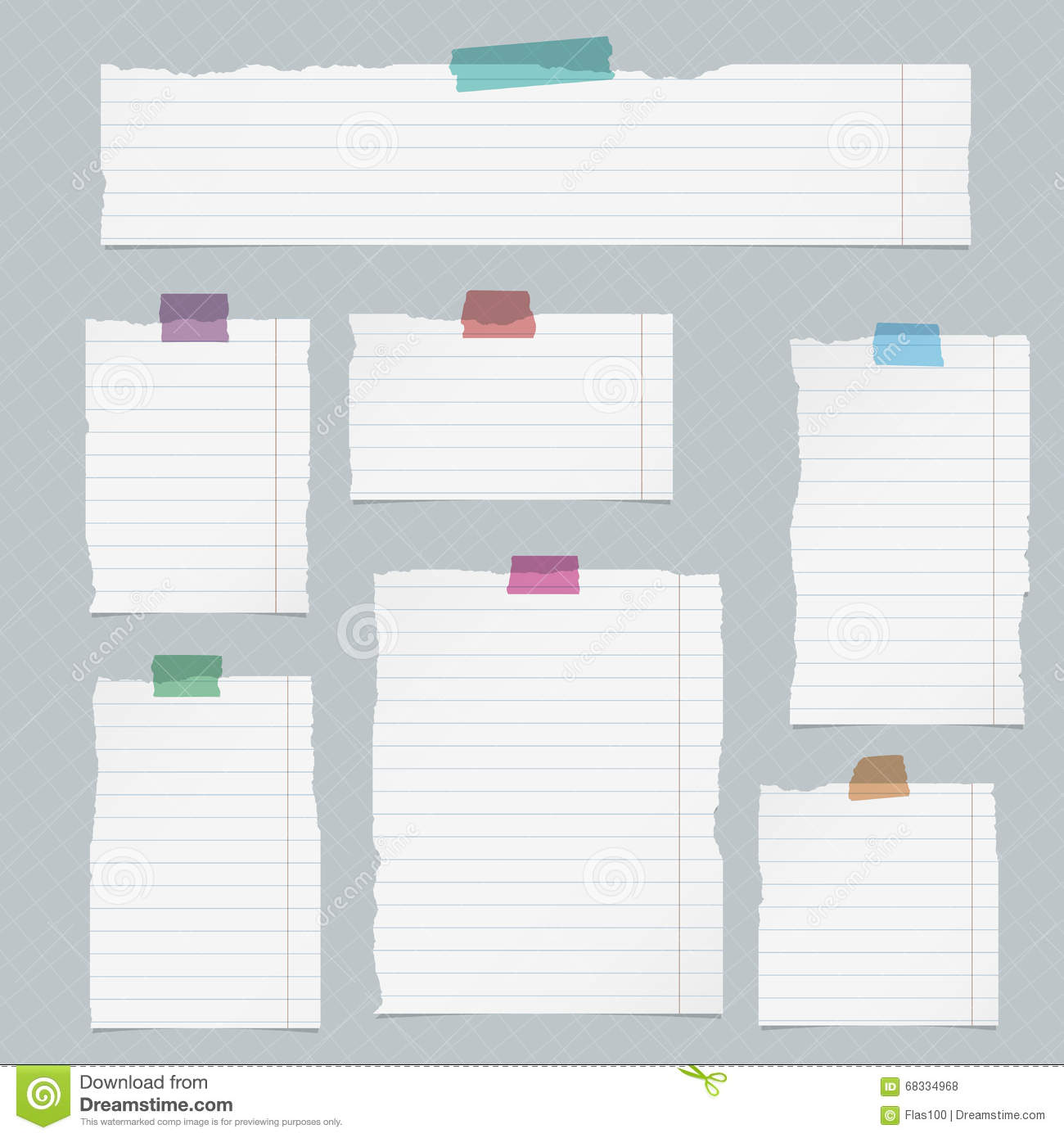 Pieces Of Torn Lined Notebook Paper On Squared Background ...