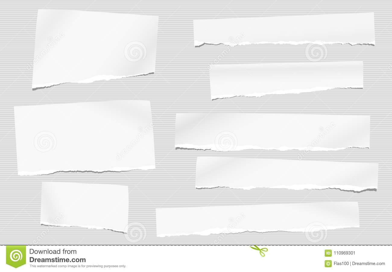 Pieces of torn white blank note, notebook paper for text stuck on striped gray background.