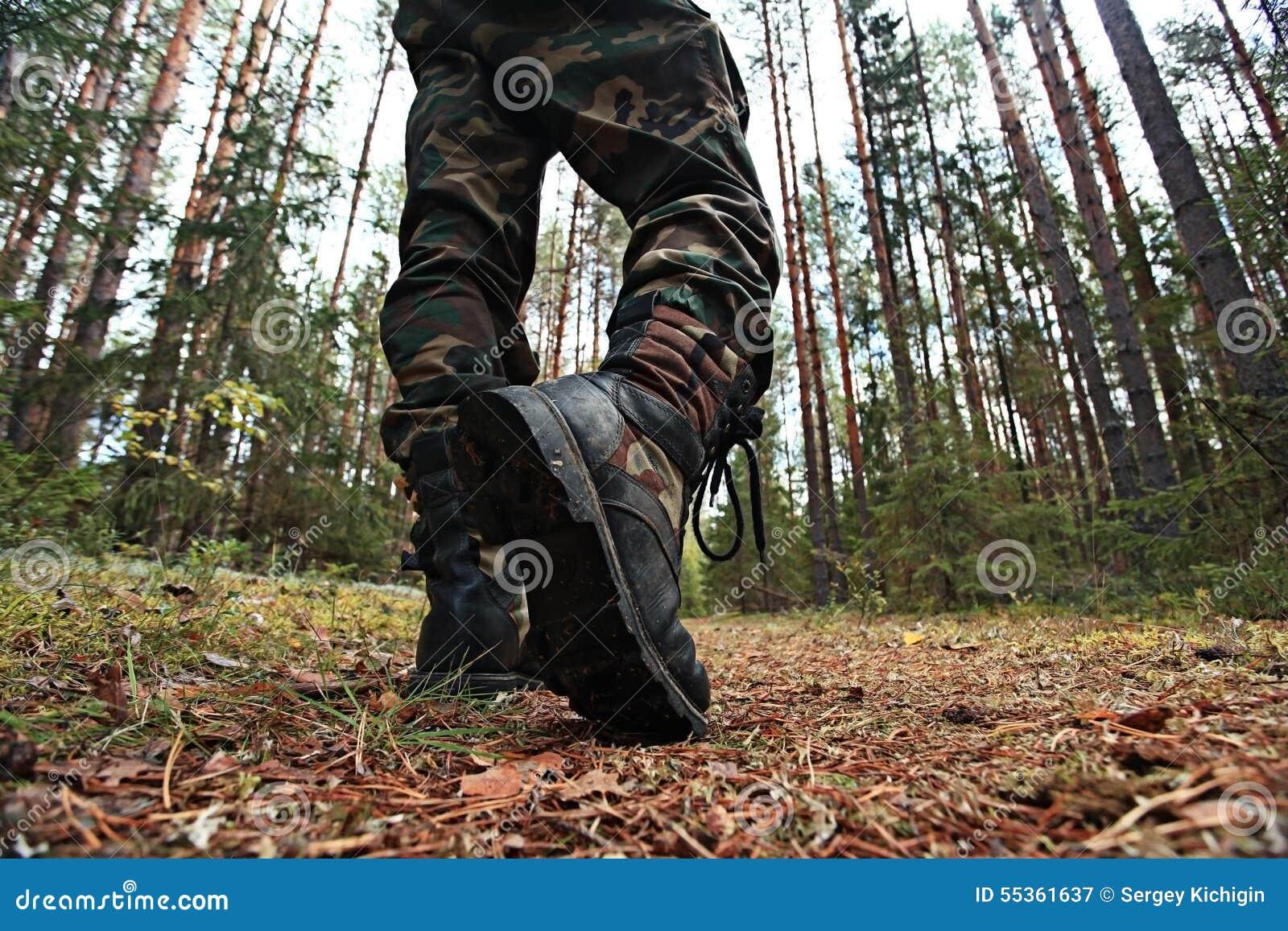 Piedi nella foresta di autunno delle scarpe