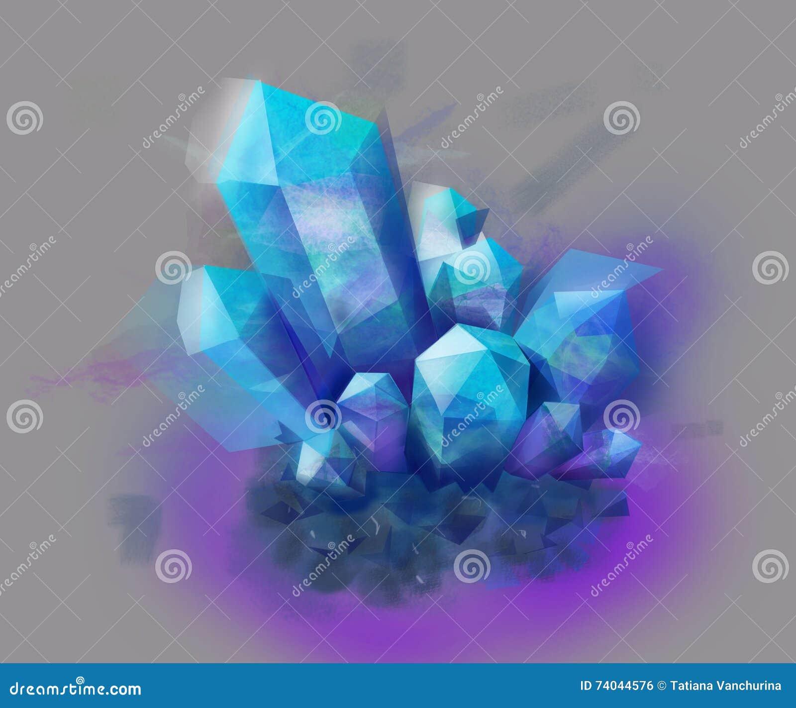 Piedra Cristalina Azul Y Púrpura Mineral Stock de ilustración ...