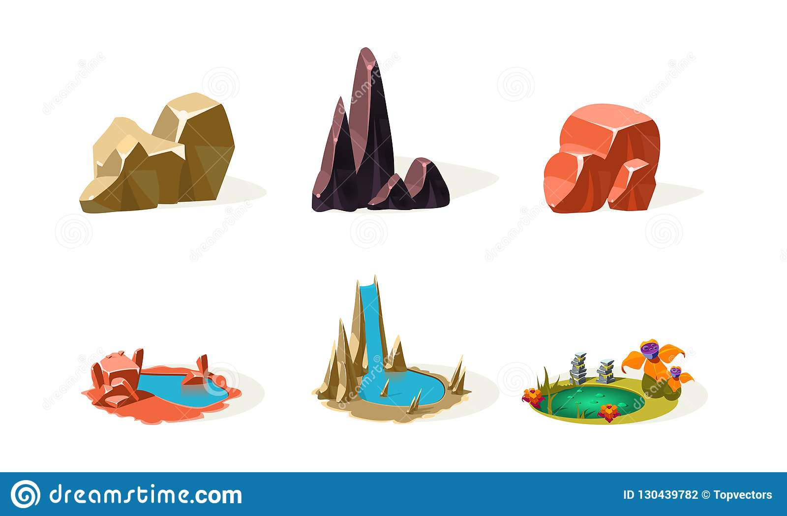Piedras de la roca, lagos, cascada, elementos del paisaje natural, activos de la interfaz de usuario para el app móvil o vector d
