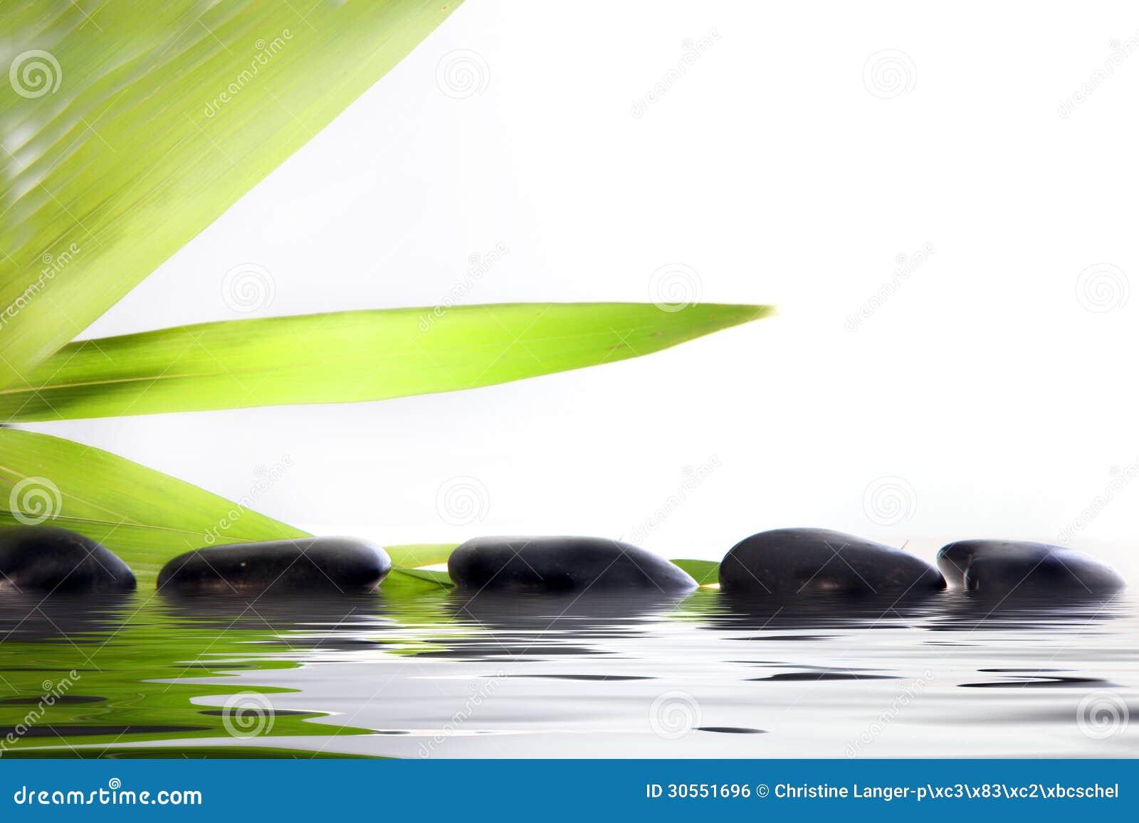 Piedras del masaje del balneario en agua