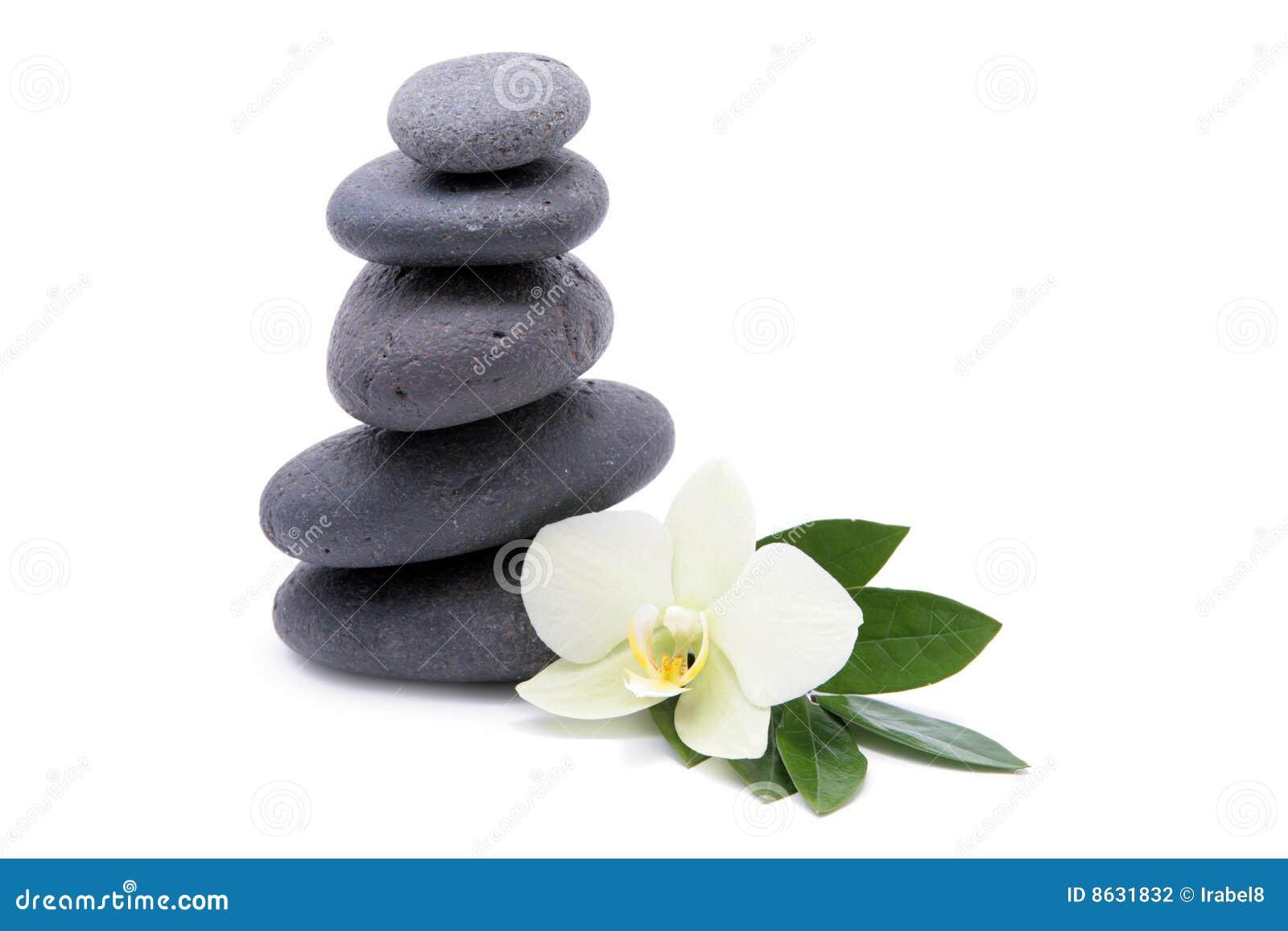 Piedras del zen con la flor de las orqu deas fondo del for Fotos piedras zen