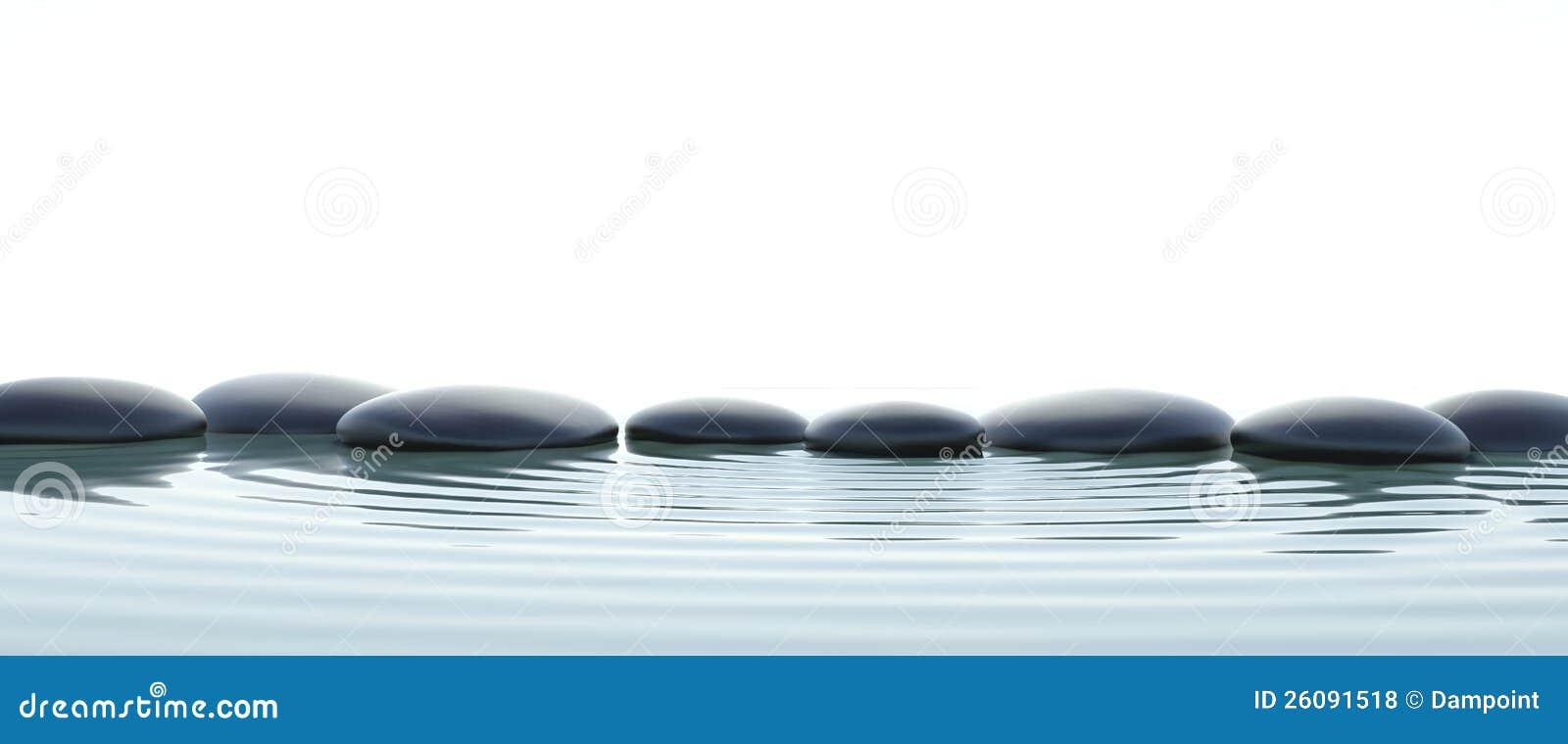 Piedras del zen en agua en con pantalla grande stock de for Fotos piedras zen