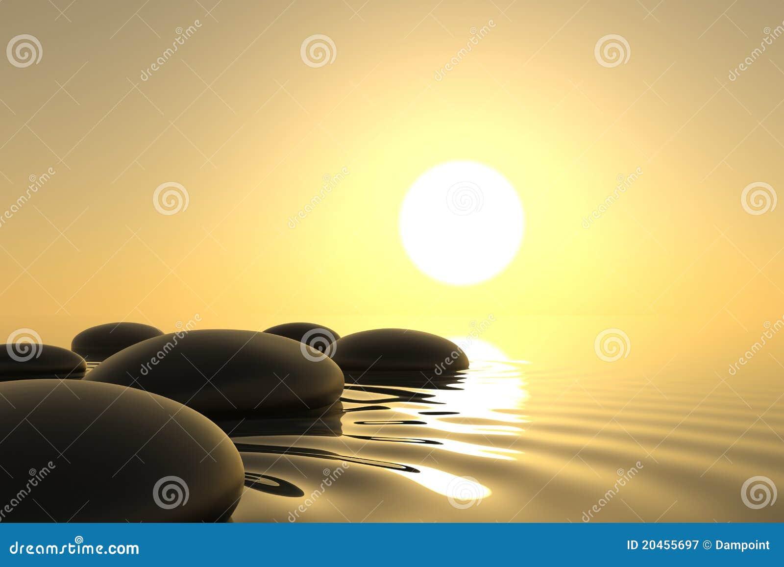 Piedras del zen en agua en el fondo blanco stock de for Fotos piedras zen