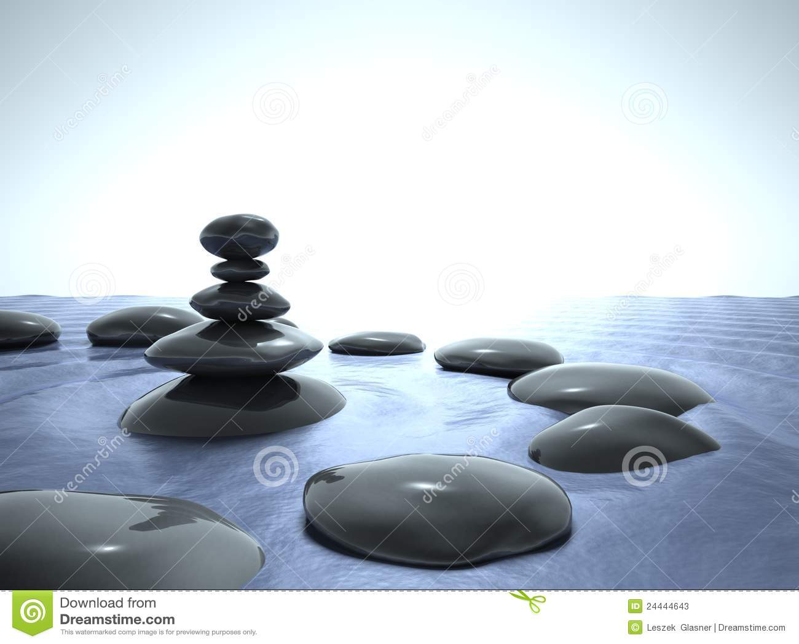 Piedras del zen en el agua cielo azul fotos de archivo for Imagenes zen