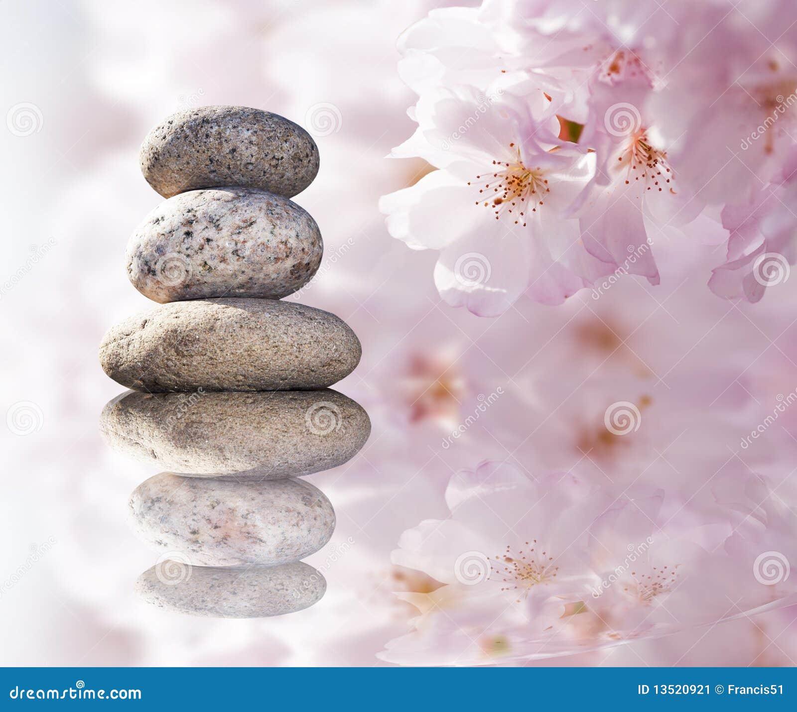 Piedras del zen y flores del resorte imagen de archivo for Fotos piedras zen