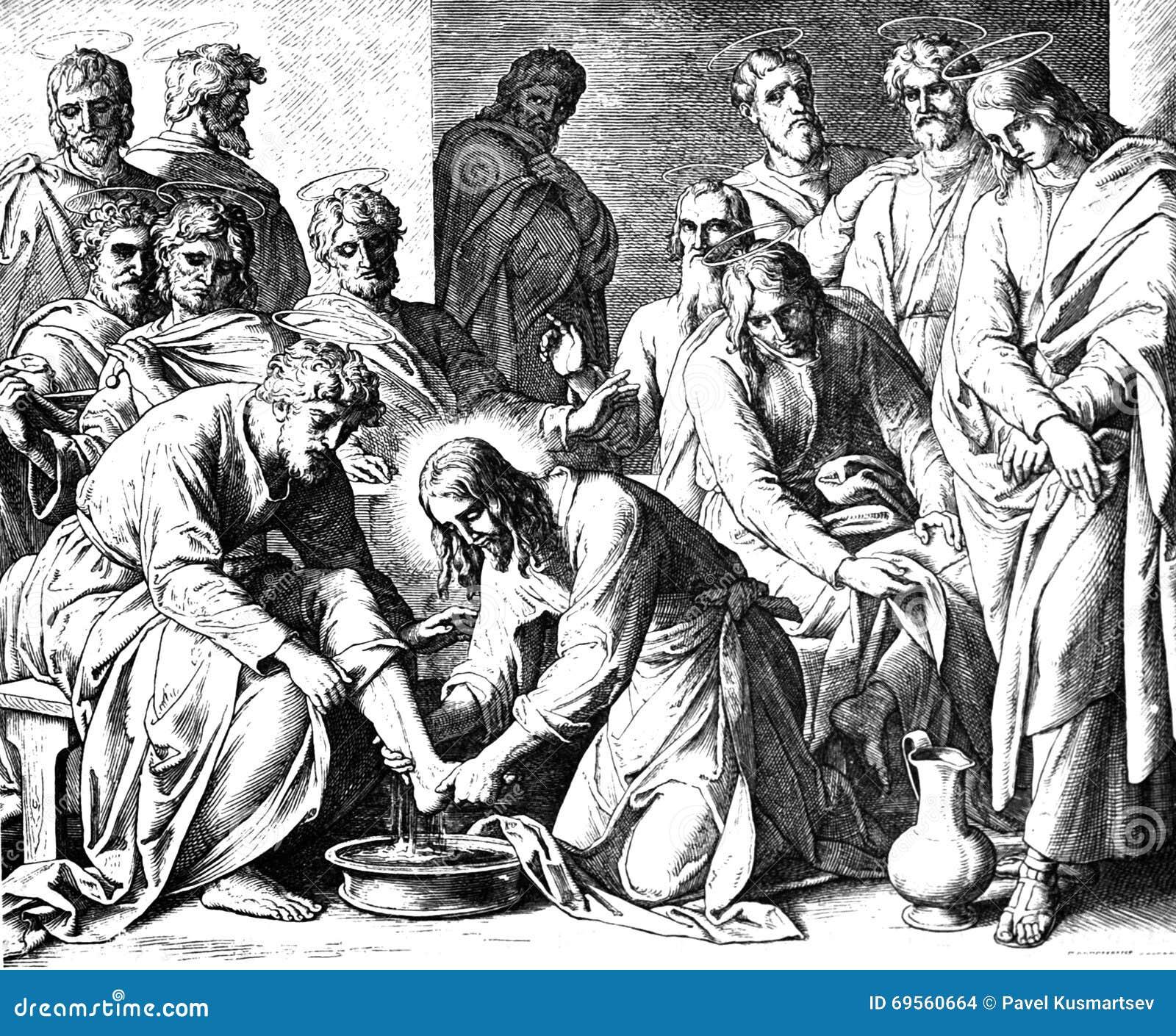 Pieds de Jesus Washing Disciples