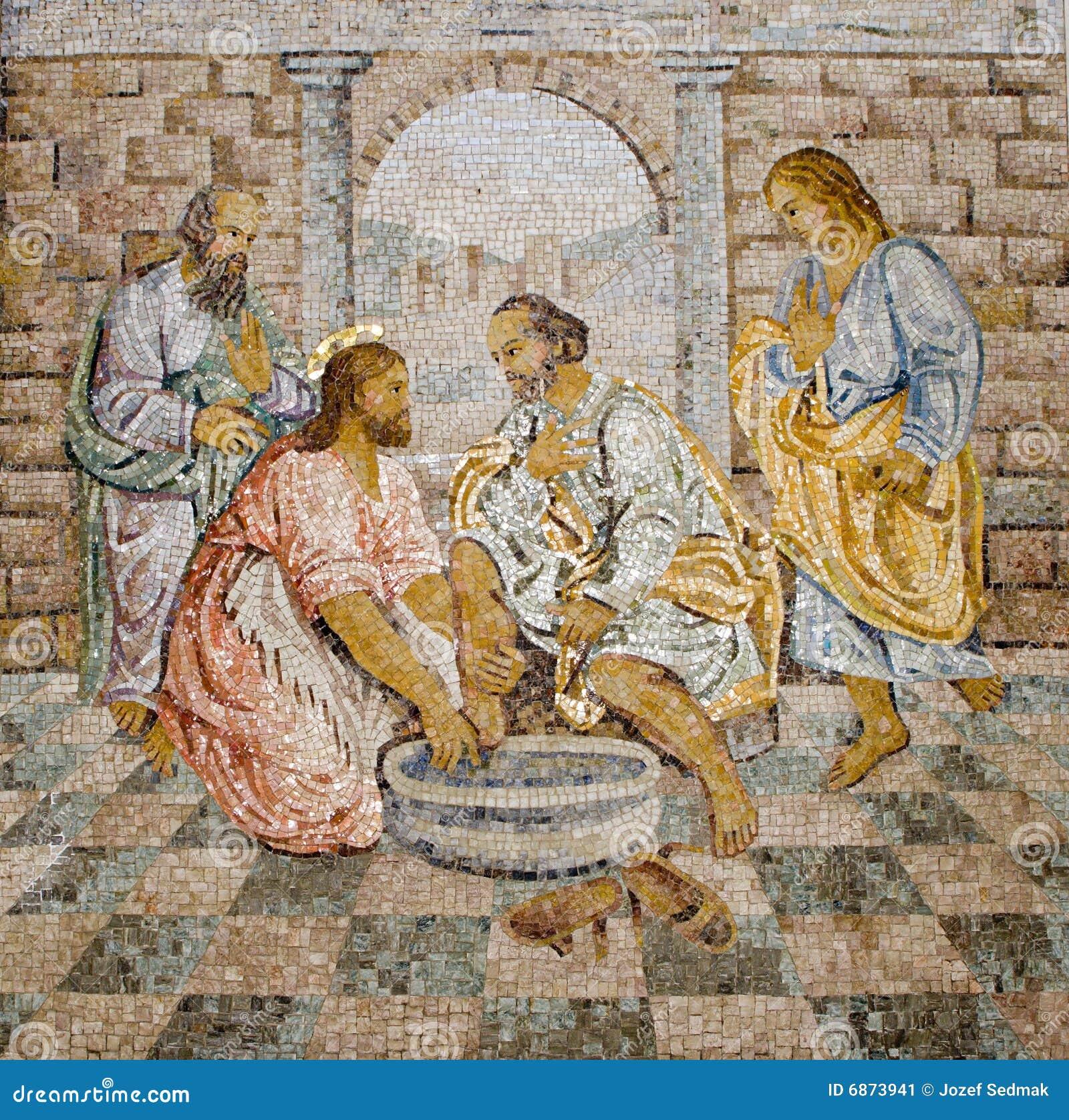 Pieds de mosaïque de lavage de Rome
