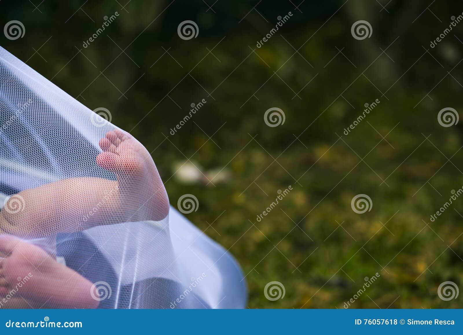 Pieds nouveau-nés poussant une moustiquaire