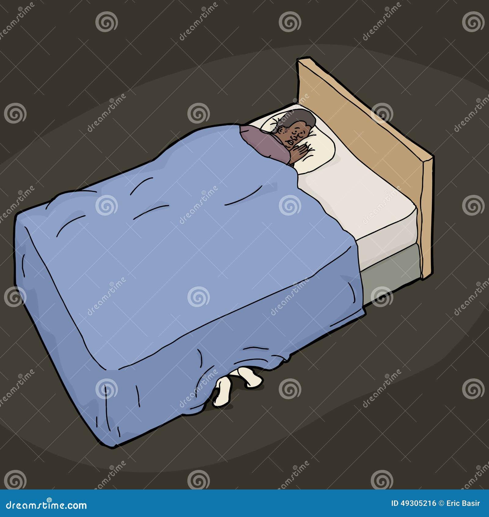 pieds sous le lit de l 39 homme nerveux illustration stock illustration du hiding effray 49305216. Black Bedroom Furniture Sets. Home Design Ideas