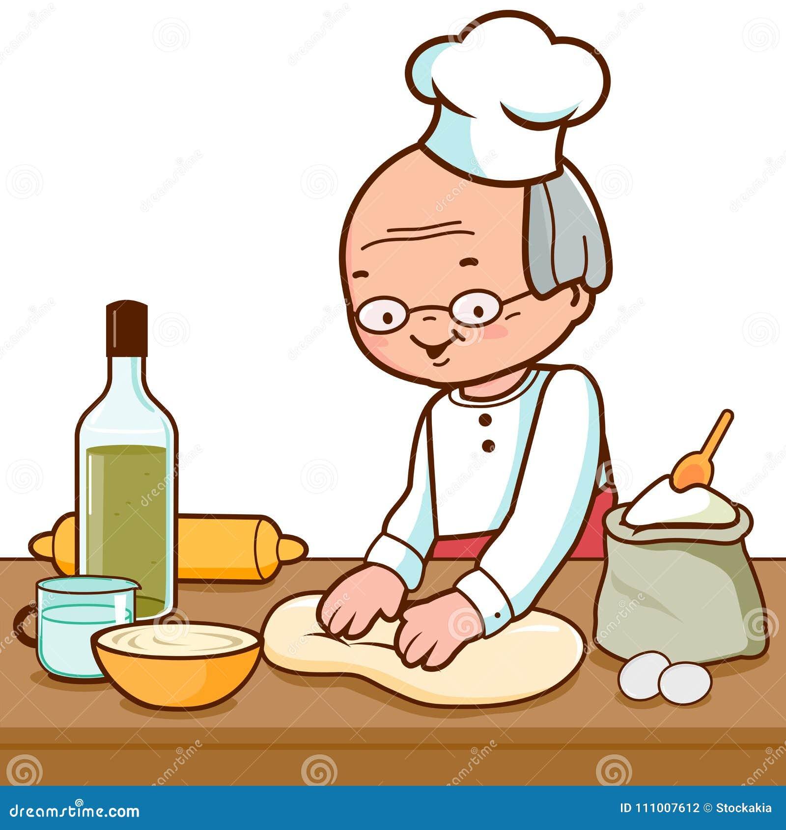 Piekarz ugniata ciasto i robi chlebowi w piekarni kuchni